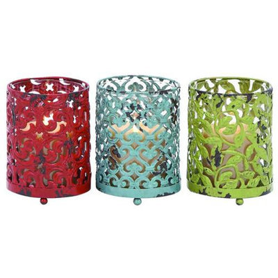Woodland Import 34894 Candle Holder with Long Lasting Construction - Set of 3