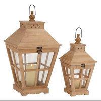 Benzara The Heavenly Set Of 2 Wood Glass Lantern