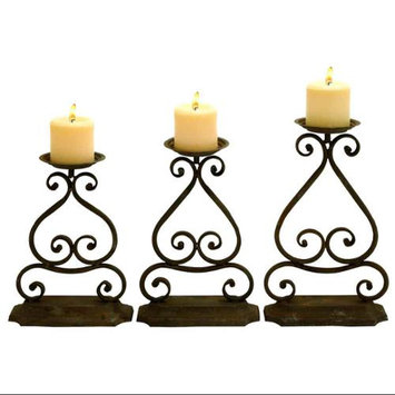 Woodland Import 52963 Candle Hold with Elegant Design and Structure - Set of 3
