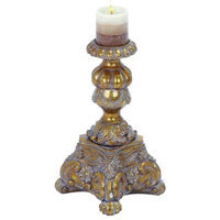 Woodland Import 54813 Candle Holder Finished in Gold with Grey Antique Wash