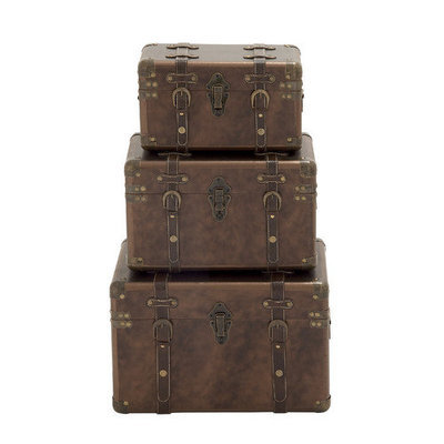 Benzara 56821 Leather Case Wood Set of 3