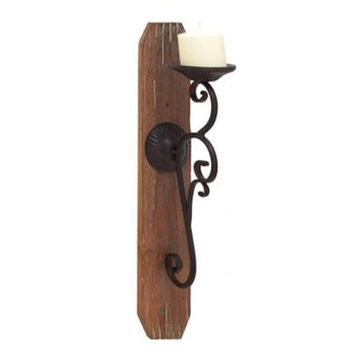 Benzara 70963 Wood Candle Sconce