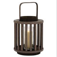 Benzara Unique and Attractive Round Shaped Wood Glass Lantern
