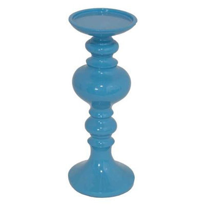 Benzara Stunningly Styled blue Color Small Resin Candle Holder