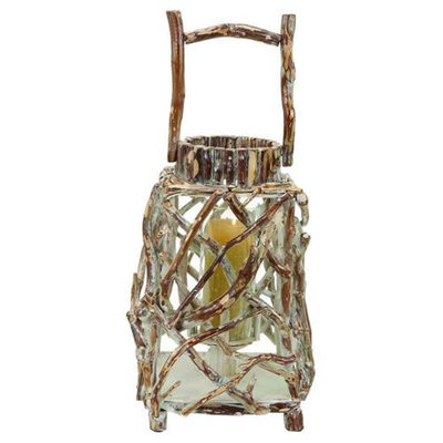 Benzara Wood Candle Holder in Beige and Olive Colored with Rust Accent