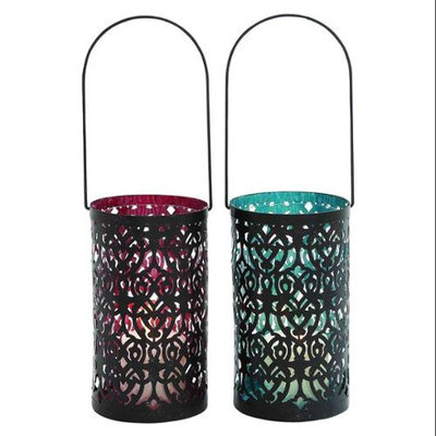 Benzara Elegantly Designed Metal Glass Lantern 2 Assorted