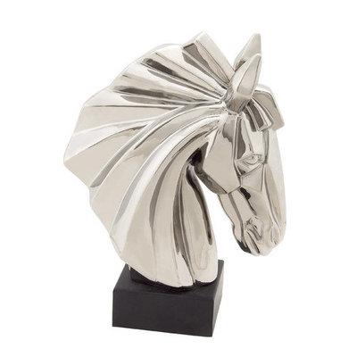 Benzara 96722 Ceramic Horse Head Silver