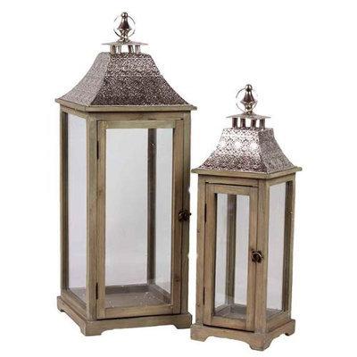 Benzara Wooden Lantern with Ethnic Design Metal Roof Set of Two