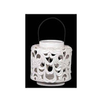 Benzara Beautifully Open Carved with Floral Design Ceramic Lantern in White