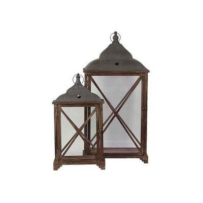Benzara Metallic Roofed Wooden Lantern Set of Two