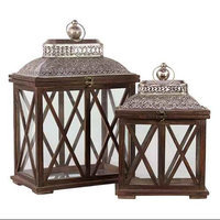 Benzara Wooden Lantern Set of Two in Brown Finish with Crossed Wooden Panel Design