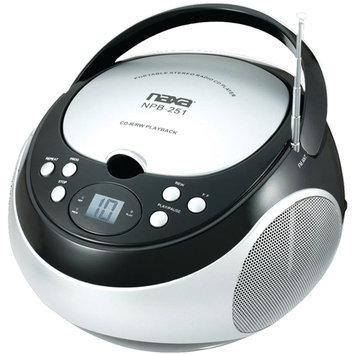 Naxa Portable CD Player with AM/FM Stereo Radio, Black