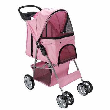 OxGord Pet Stroller Cat / Dog 4 Wheel Easy Walk Roll Travel Gear Folding Carrier, Pink