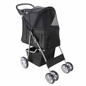 OxGord Pet Stroller Cat / Dog 4 Wheel Easy Walk Roll Travel Gear Folding Carrier, Black
