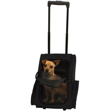 OxGord Rolling Backpack Travel Pet Carrier for Cats, Dogs, and Rabbits - Black