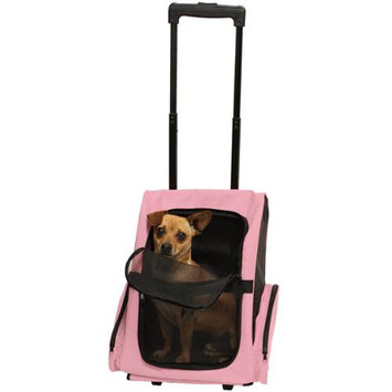 OxGord Rolling Backpack Travel Pet Carrier for Cats, Dogs, and Rabbits - Pink