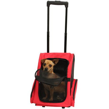 OxGord Rolling Backpack Travel Pet Carrier for Cats, Dogs, and Rabbits - Red