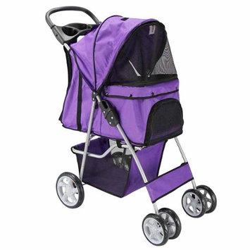 OxGord Pet Stroller Cat / Dog 4 Wheel Easy Walk Roll Travel Gear Folding Carrier, Purple