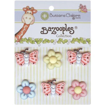 Buttons Galore 93418 BaZooples Buttons-Flutterbugs & Flowers