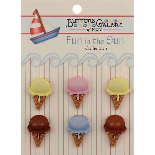 Buttons Galore 1460 Fun In The Sun Buttons-Ice Cream Cones
