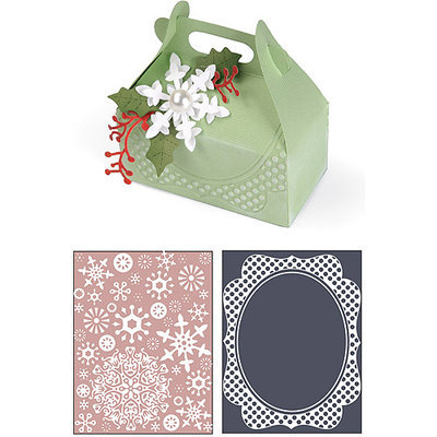 Sizzix Bigz XL/Bonus Textured Impressions By Basic Grey-Nordic Holiday Carry Box, Let It Snow