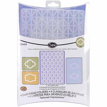 Ellison Educational Equipment Sizzix Textured Impressions Jar Labels Embossing Folders Set by Eileen Hull (4 Pack)