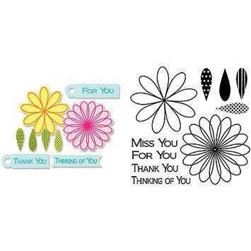 Sizzix Framelits Dies 10/Pkg W/Stamps-Flowers & Tags