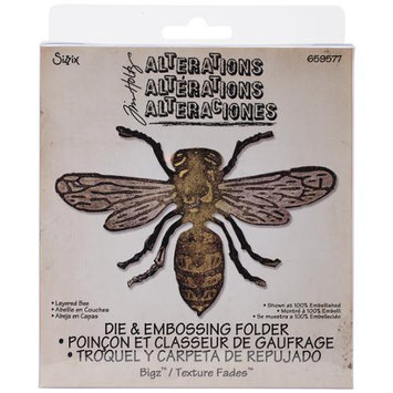 Sizzix Bigz Die W/A2 Texture Fades Folder By Tim Holtz-Layered Bee