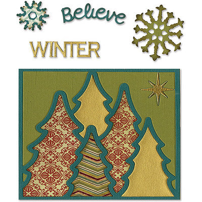 Sizzix Thinlits Dies 6/Pkg-Winter Card Front For 5