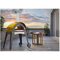 Alfa Pizza Patio Islands & Grilling Centers 27.5 in. x 15.75 in. Outdoor Wood Burning Pizza Oven in Yellow Forno Ciao - Yellow