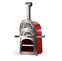 Alfa Pizza Patio Islands & Grilling Centers 23.6 in. x 27.5 in. Lower and 19.6 in. x 27.5 in. Upper Outdoor Wood Burning Pizza Oven in Red Forno Duetto