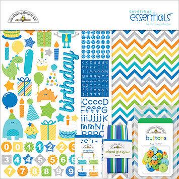 Doodlebug Hip Hip Hooray Essentials Page Kit 12inX12in-Cardstock, Stickers & Embellishments