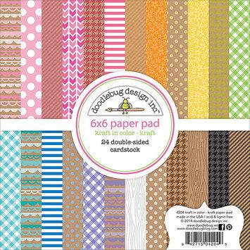 Doodlebug KK4204 Kraft In Color Paper Pad 6 in. X6 in. 24-Sheets-Kraft
