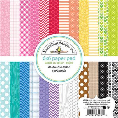 Doodlebug KK4205 Kraft In Color Paper Pad 6 in. X6 in. 24-Sheets-Color