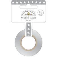 Doodlebug DWASH8mm-4292 Washi Tape 8mmX12yd-Silver Stars
