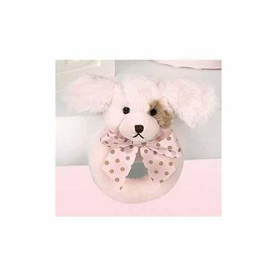 Bearington Baby Wiggles Ring Rattle-PINK/BROWN-One Size