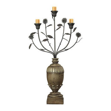 Sterling Lighting Sterling Industries 93-9142 Halifax Grey Floral Display Style Candle