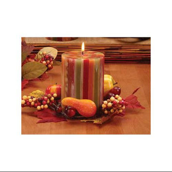 CC Home Furnishings Pack of 4 Autumn Glow Unscented Fall Striped Pillar Candles 4