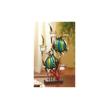 Taylor Gifts Deco Flair Fish Metal Tealight Candle Tree