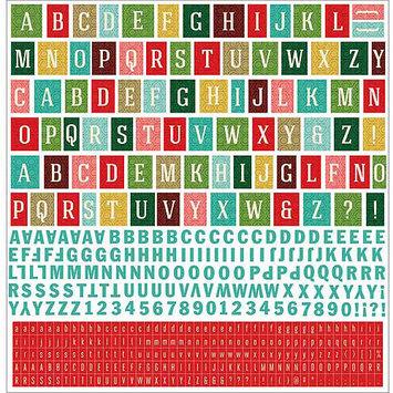 Basic Grey Evergreen 12x12 Alphabet Christmas Scrapbook Stickers