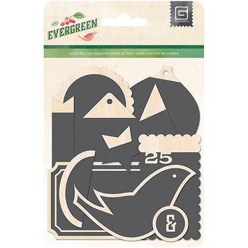 Basic Grey Evergreen Chalkboard Wood Tag Christmas Scrapbook Embellishments