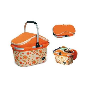 Picnic & Beyond Aluminum Framed Orange Empty Picnic Cooler Basket