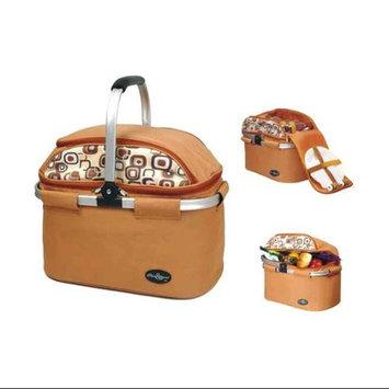Picnic & Beyond Aluminum Framed Brown Picnic Cooler Basket for 4