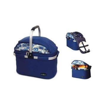 Picnic & Beyond Aluminum Framed Blue Picnic Cooler Basket for 4