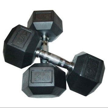 Valor Fitness RH-35 35lb Rubber Hex Dumbbell (Pair)
