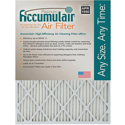 16x21.5x1 (Actual Size) Accumulair Platinum 1-Inch Filter (MERV 11) (4 Pack)