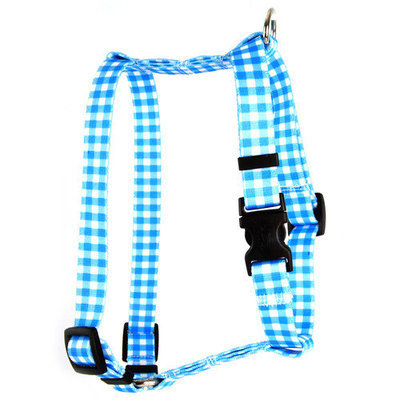 Yellow Dog Design H-GNP103L Gingham Pink Roman H Harness - Large