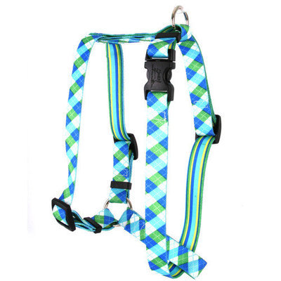 Yellow Dog Design H-BGA103L Blue and Green Argyle with Stripes Roman Harness - Large