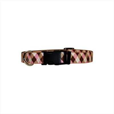 Yellow Dog Design PBA100TC Pink and Brown Argyle with Stripes Standard Collar - Teacup