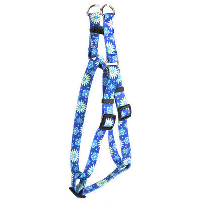 Yellow Dog Design SI-TEF103L Teal Flowers Step-In Harness - Large